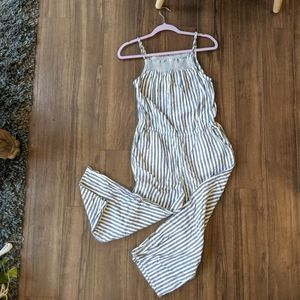 Old Navy White Blue Striped Jump Suit Spring
